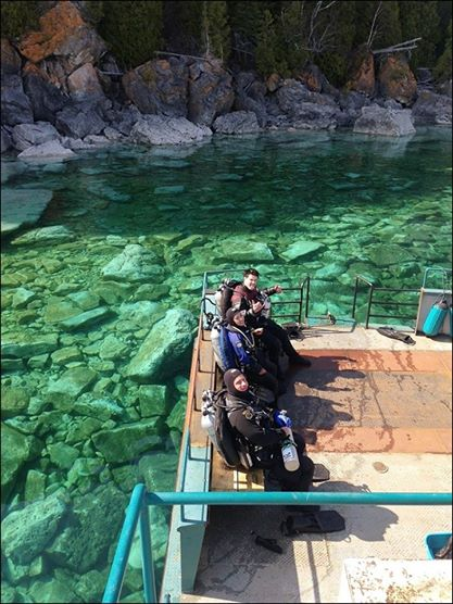 With proper gear and training, technical diving extends your bottom time so you can truly enjoy our local wrecks. Shawn, Grace and Jeff tech pictured here post-dive of the Forest City.