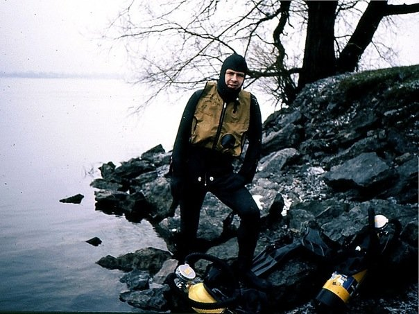 Diver Dan at Frenchman's Creek Niagara River 1973 pre-Dan's Dive Shop